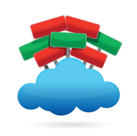 cloud computing with sign around illustration design over white Vector