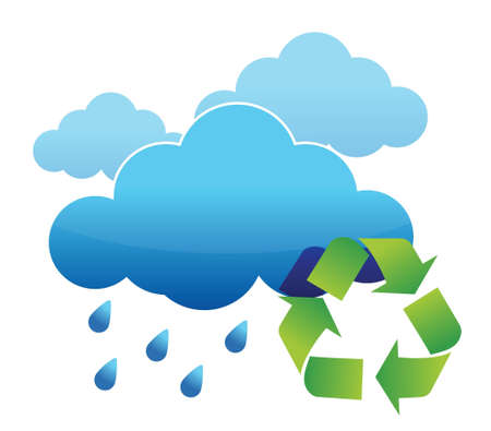 recycled water: recycle rain water illustration design over white