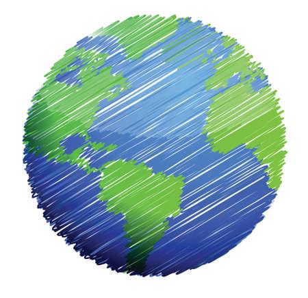 흰색 배경 위에 지구 스케치 그림 디자인