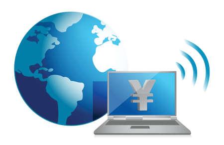 yen online currency concept illustration design over white Stock Vector - 16564190