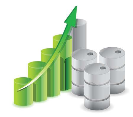 oil barrels business graph illustration design over white Stock Vector - 16564196