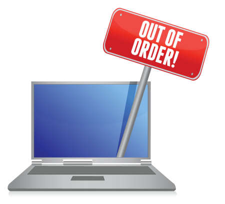 woman headache: out of order laptop service illustration design over white