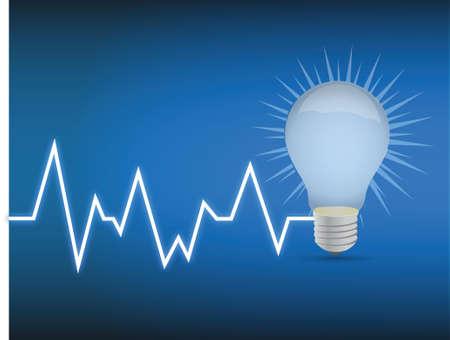 lifeline lightbulb illustration design over a blue background Stock Vector - 16564224