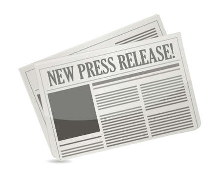 newspaper headline: new press release illustration design over white