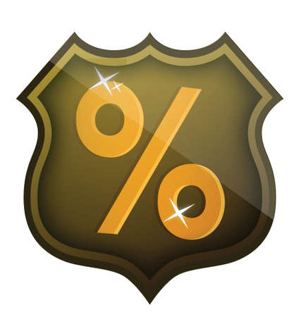 discount percentage shield illustration design over white Illustration