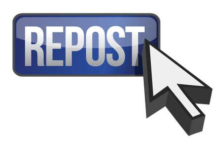 repost button and cursor illustration design over white Stock Vector - 16564125