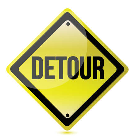 detour yellow sign illustration design over white Vector