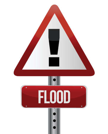stop global warming: flood warning sign illustration design over white