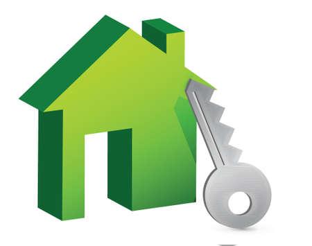 house and key illustration design over white