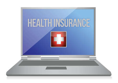promoter: buying online health insurance concept illustration design