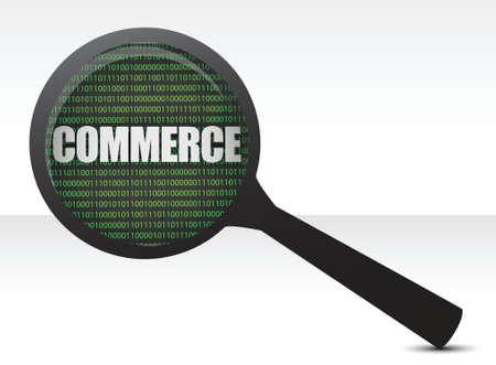 commerce under a magnify glass illustration design Stock Vector - 16583312