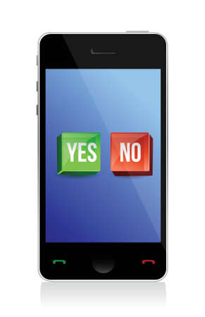 touchpad: yes and no buttons on phone illustration design Illustration