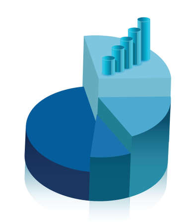 bank book: pie chart and graph illustration design over white