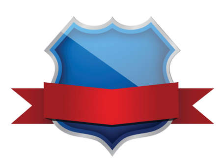 shield and banner illustration design over white Stock Vector - 16583314