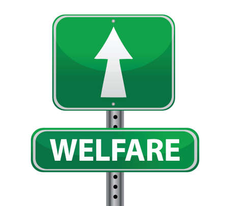 welfare green sign illustration design over white Vector