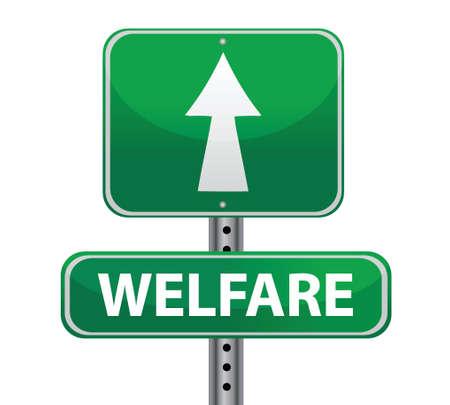 penniless: welfare green sign illustration design over white Illustration