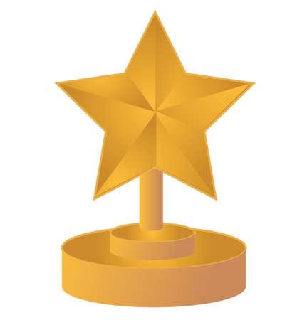 star gold trophy illustration design over white Stock Vector - 16583233