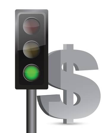 allow: green light on dollar concept illustration design over white