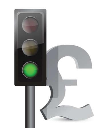 green light on pound concept illustration design over white