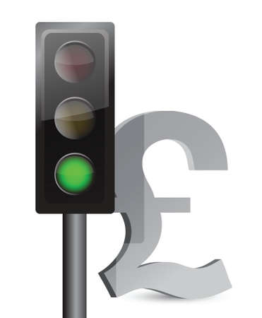 green light on pound concept illustration design over white