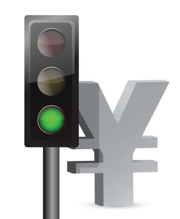 green light on yen concept illustration design over white