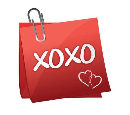 xoxo: xoxo written on a post it illustration design