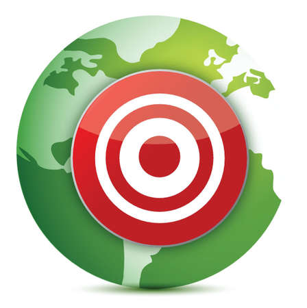 goal achievement: globe target illustration design over white background