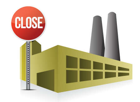 factory: close factory illustration design over a white background Illustration
