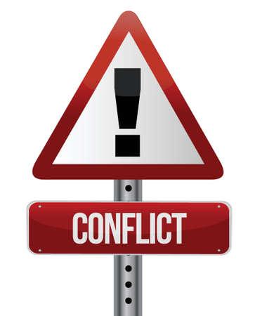 konflikt: Znak ostrzegawczy konflikt projektowania ilustracji na białym