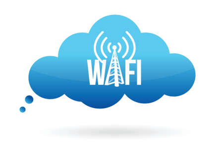 cloud computing wifi illustration design over white Stock Vector - 16600914