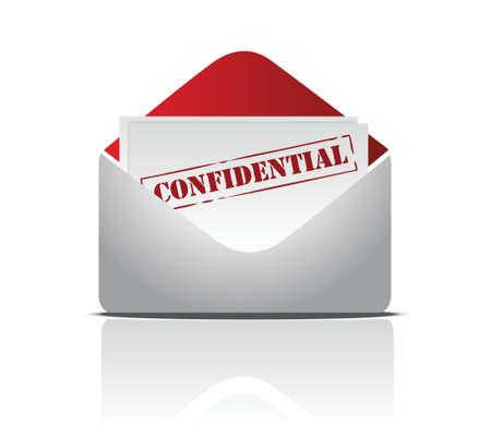 confidencial correo diseño ilustración sobre fondo blanco s