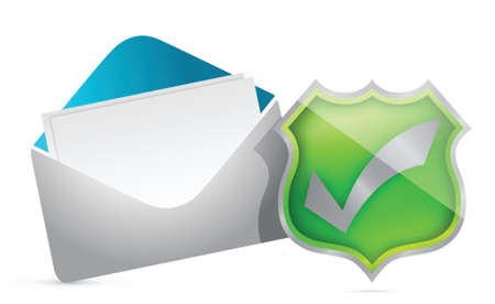 secure site: mail and shield of approval illustration design over white