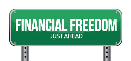 financial freedom street sign illustration design over white Stock Vector - 16600911