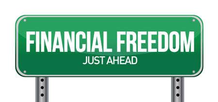affluence: libertad financiera placa de la calle, ilustraci�n, dise�o, encima, blanco
