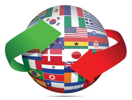 globe asia: flag globe and arrows illustration design over white Illustration