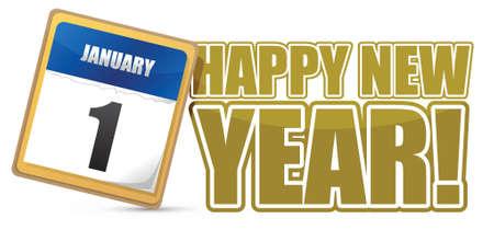 happy new year sign calendar illustration design Stock Vector - 16600920