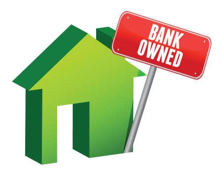 owned: bank owned property illustration design over white Illustration