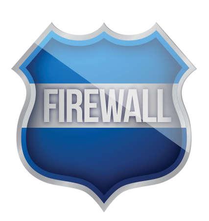 firewall shield illustration design over a white background Illustration
