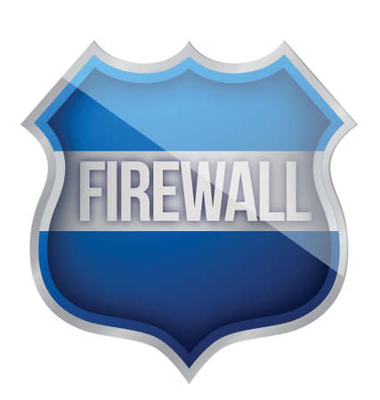 firewall shield illustration design over a white background Ilustração