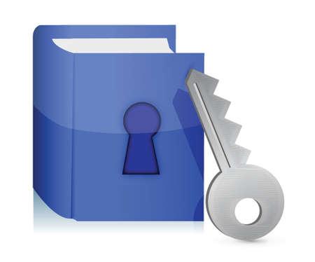 白の本とキーのイラスト デザインをロックします。