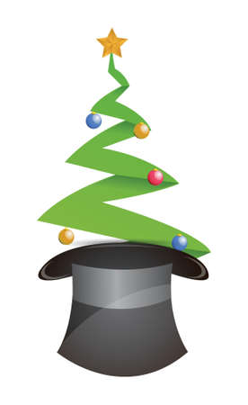 christmas tree and hat illustration design over white Stock Vector - 16617166