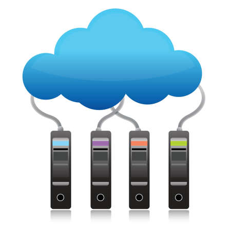 cloud computing services: server backup cloud computing concept illustration design over white
