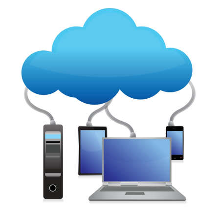sharing information: backup cloud computing concept illustration design over white