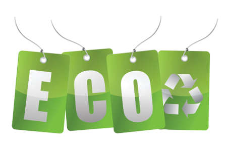 eco green tags illustration design over a white background Vector