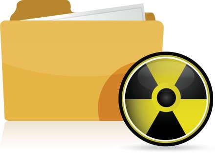 folder and radioactive symbol illustration design over white Stock Vector - 16617185