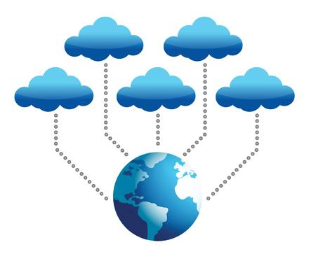 world connected to cloud computing illustration design Ilustracja