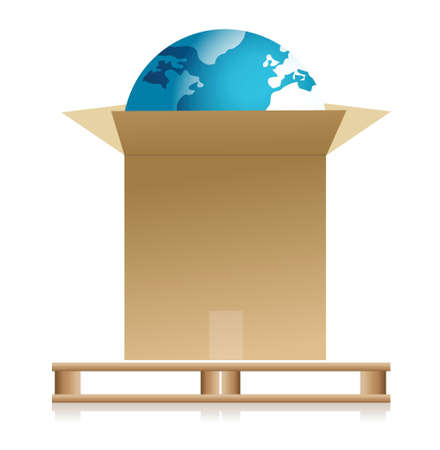 shipping earth concept illustration design over a white background