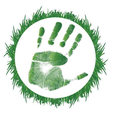 白い背景の上の草と手形のイラスト デザイン  イラスト・ベクター素材