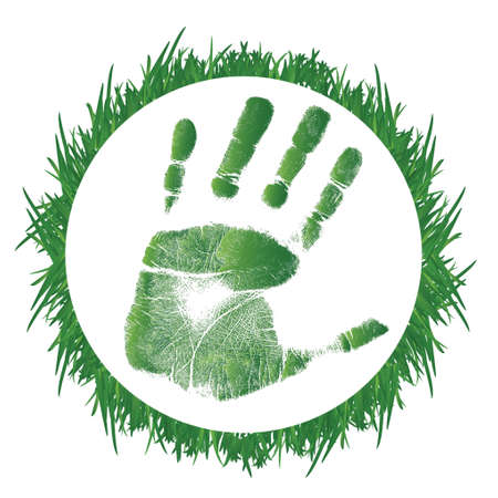 hand print: grass and handprint illustration design over a white background Illustration