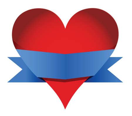 heart with banner illustration design over white Vector